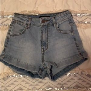 Kendall & Kylie high waisted jean shorts